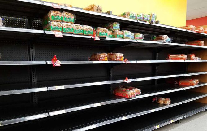Empty bread at Walmart