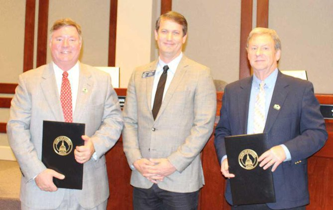 Senator-Michael-Williams-recognizes-Commissioners-Tam-and-Boff-12.15 WEB